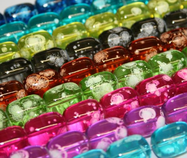 16mm x 12mm Bubble gum glass beads